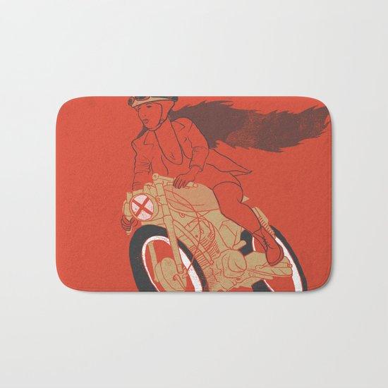long hair girl riding a motorcycle Bath Mat