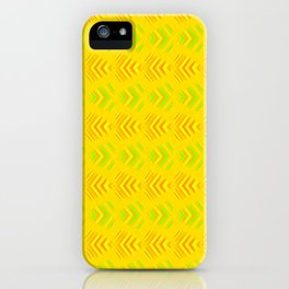Pattern of intersecting orange hearts and green stripes on a yellow background. iPhone Case