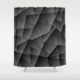 Exclusive tinted mosaic pattern of chaotic black and white fragments of glass, metal and ice floes. Shower Curtain
