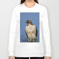 snatch Long Sleeve T-shirts featuring Red-Tailed Hawk on Watch at Foothill and B Street by Ralph S. Carlson