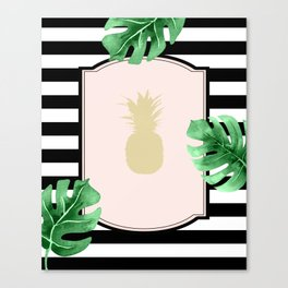 Chic Pineapple & Tropical Leaves Canvas Print