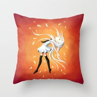 swan Throw Pillows featuring Swan by Freeminds