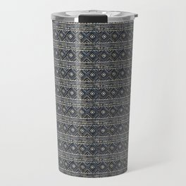 African Tribal Blockprint // Navy & Eggshell Travel Mug