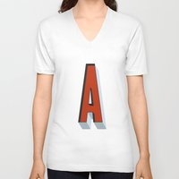 letter V-neck T-shirts featuring Letter A by INDUR