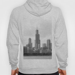 Chicago Skyline Black and White Hoody