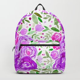 Watercolor roses bouquet - ultra violet and green Backpack
