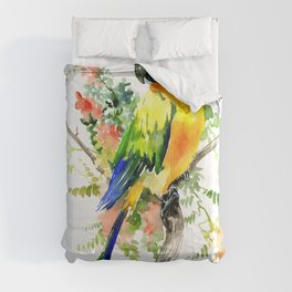 Sun Conure Parakeet, tropical colors parrot art design Comforters