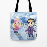 skiing Tote Bags featuring Couple skiing  by Danna Victoria