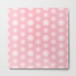 Frosty Snowflakes Sweet Blush Metal Print