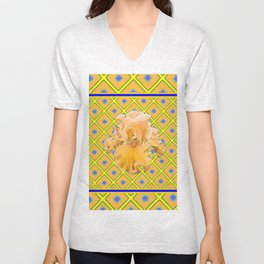 Peachy German Iris Blue & Yellow Art Unisex V-Neck