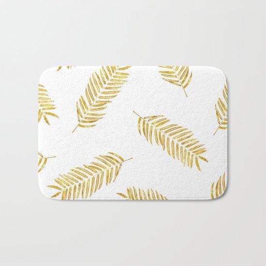 Gold Leaves Pattern Bath Mat