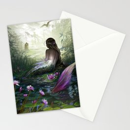Little mermaid - Lonley siren watching kissing couple Stationery Cards