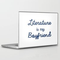 literature Laptop & iPad Skins featuring literature is my boyfriend blue by Beautiful Bibliophile's Boutique