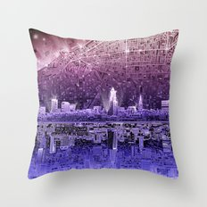 cleveland city skyline Throw Pillow
