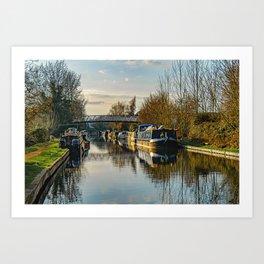 Canal Boats At Aldermaston Art Print