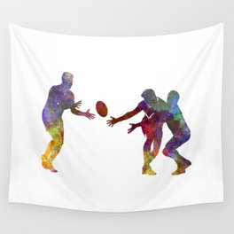 Rugby men players 02 in watercolor Wall Tapestry