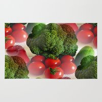 vegetables Area & Throw Rugs featuring Healthy Vegetables by Art-Motiva