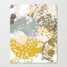 Hutton - Modern abstract painting for home decor and cell phone cases in gold grey mint white Canvas Print