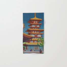 Japanese Woodblock Print Vintage Asian Art Colorful woodblock prints Pagoda Shinto Shrine Hand & Bath Towel
