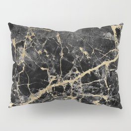 Chic black faux gold modern abstract marble Pillow Sham