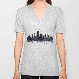 Dallas Skyline Black White Watercolor by Zouzounio Art Unisex V-Neck