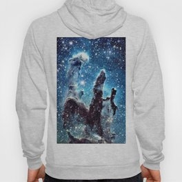 Pillars of Creation Nebula: Ocean Blue Galaxy Hoody