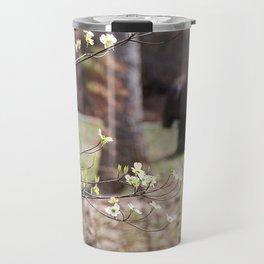branch, flowers, car, motion blur Travel Mug