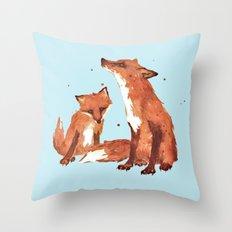 Blue Foxes, Cute fox art, nursery foxes, nursery decor, cool brother foxes, fox pillows Throw Pillow