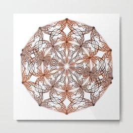 Mandala metal and orange Metal Print