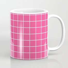 French rose - pink color - White Lines Grid Pattern Coffee Mug