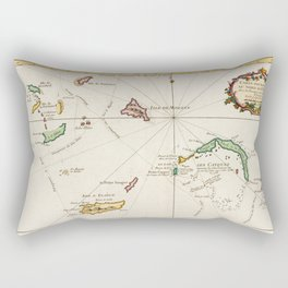 Vintage Turks and Caicos Map (1764) Rectangular Pillow