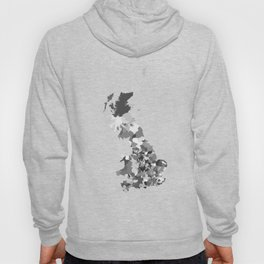Great Britain Map Print Abstract in Camouflage Black and White - A great talking piece for the home! Hoody
