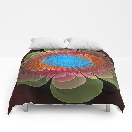Colourful fantasy flower with a spiral heart Comforters