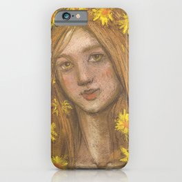 Dandelions Bloom, Girl and Flowers, Pastel Painting iPhone Case