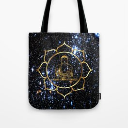 Gold funky Space Buddha Tote Bag