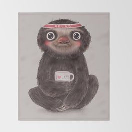 Sloth I♥lazy Throw Blanket