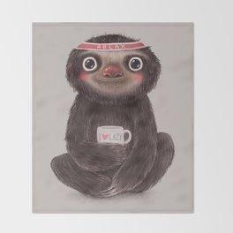 Sloth I♥lazy Throw Blanket