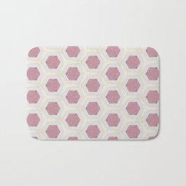 Pink Hexagon and Cream Pattern Design Bath Mat