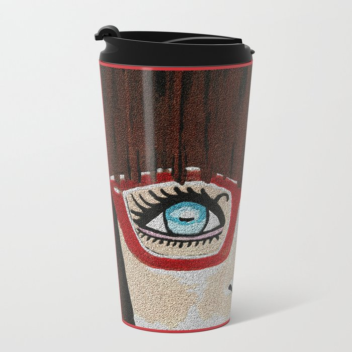 The Girl With The Red Glasses Metal Travel Mug