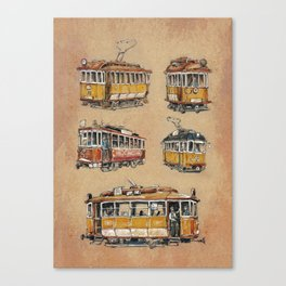 Old vintage yelow trams -nostagic pubic transport Canvas Print