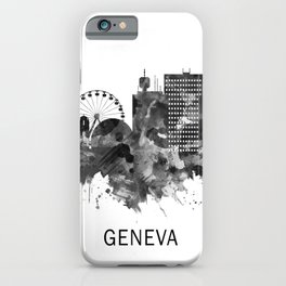 Geneva Switzerland Skyline BW iPhone Case