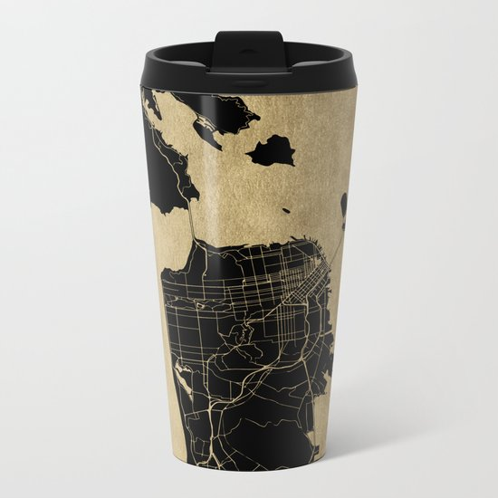 San Francisco California Black and Gold Map Metal Travel Mug