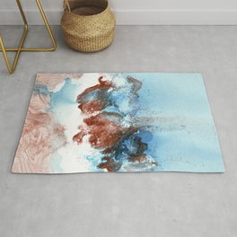 Copper Blue Abstract Sky Rug