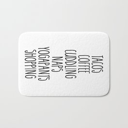 Tacos & Coffee Funny Quote Bath Mat