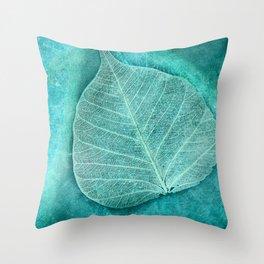 Turquoise Leaf 2 Throw Pillow