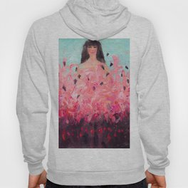 Pink Thoughts (A girl with flamingos) Hoody