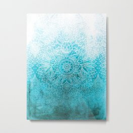 Fade to Teal - watercolor + doodle Metal Print