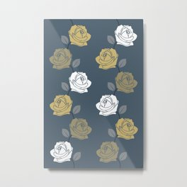 Rose Vine Pattern Blues Golds White Metal Print