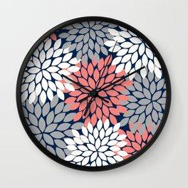 Flower Burst Petals Floral Pattern Navy Coral Gray Wall Clock