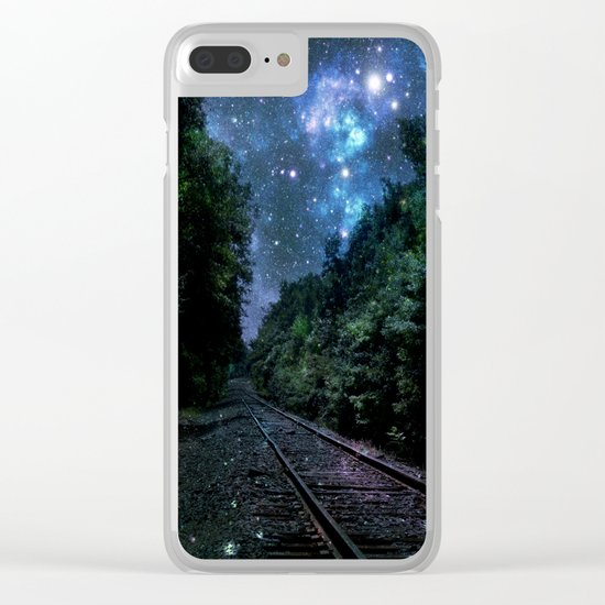 Train Tracks : Next Stop Anywhere Blue Side View Clear iPhone Case